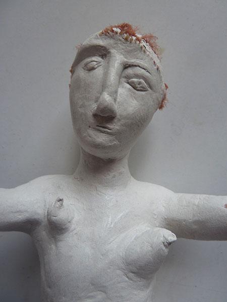 Patrizia Trevisi - Coppia I, archetipo, arte tessile, astrazione organica, culto della Madre Terra, fiber art, Mixed media, modellato in gesso, ready made, scultura tessile