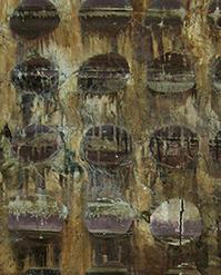 Tecnica mista. Carta di riso e colla su tela. Pigmenti lavati e oro in fogli. Reagenti.it]Patrizia Trevisi - Holes